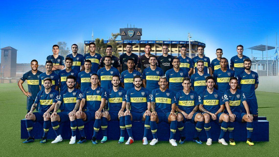 La foto oficial del plantel de Boca 2018-2019. Algunos no están inscriptos en la Libertadores.