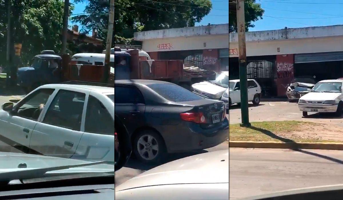 Burzaco: un camión chocó tres autos en una concesionaria y escapó
