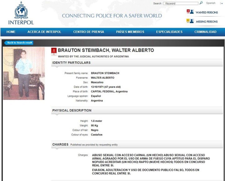 La alerta roja de Interpol sobre Walter Brauton.