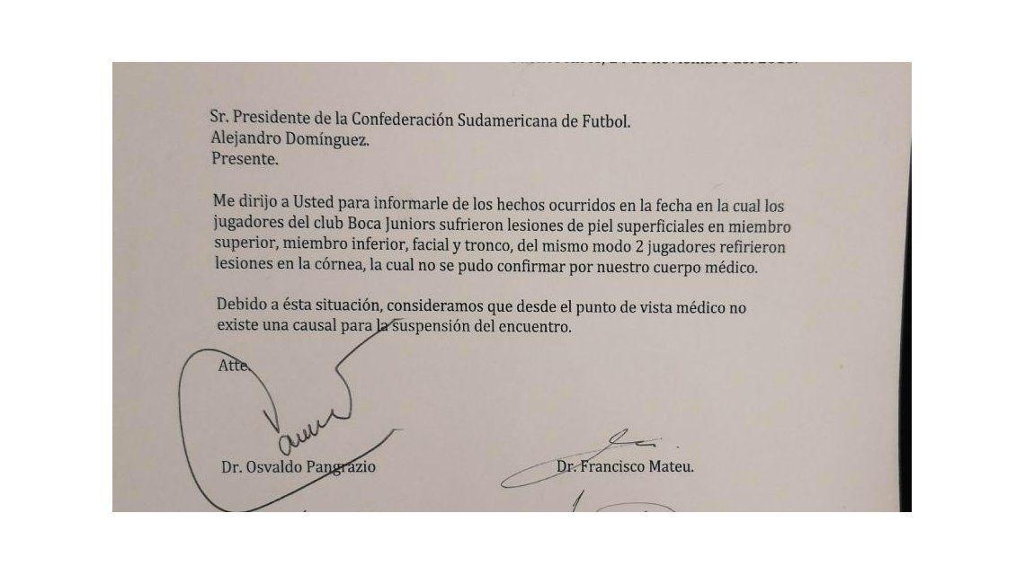 Para Conmebol, desde el punto de vista médico no hay motivo para suspender el partido