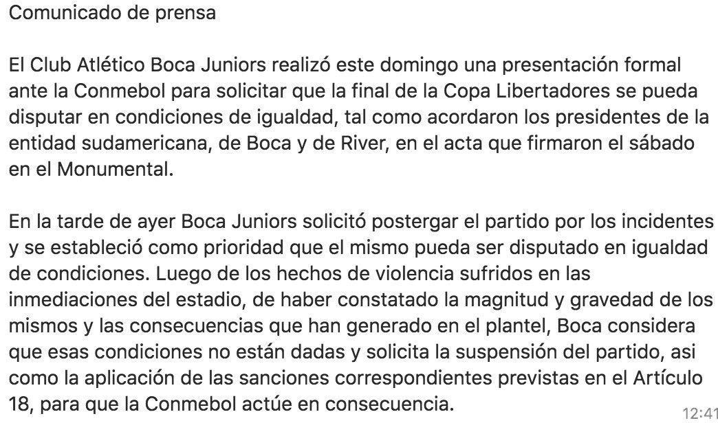 A cuatro horas de la final, Boca pidió la suspensión del partido ante la Conmebol
