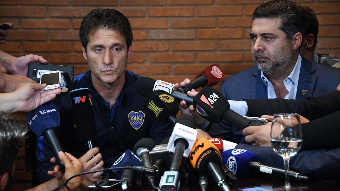 Guillermo Barros Schelotto habló junto a Daniel Angelici