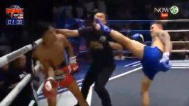 VIDEO: Un boxeador de muay thai noqueó a su rival y al árbitro al mismo tiempo