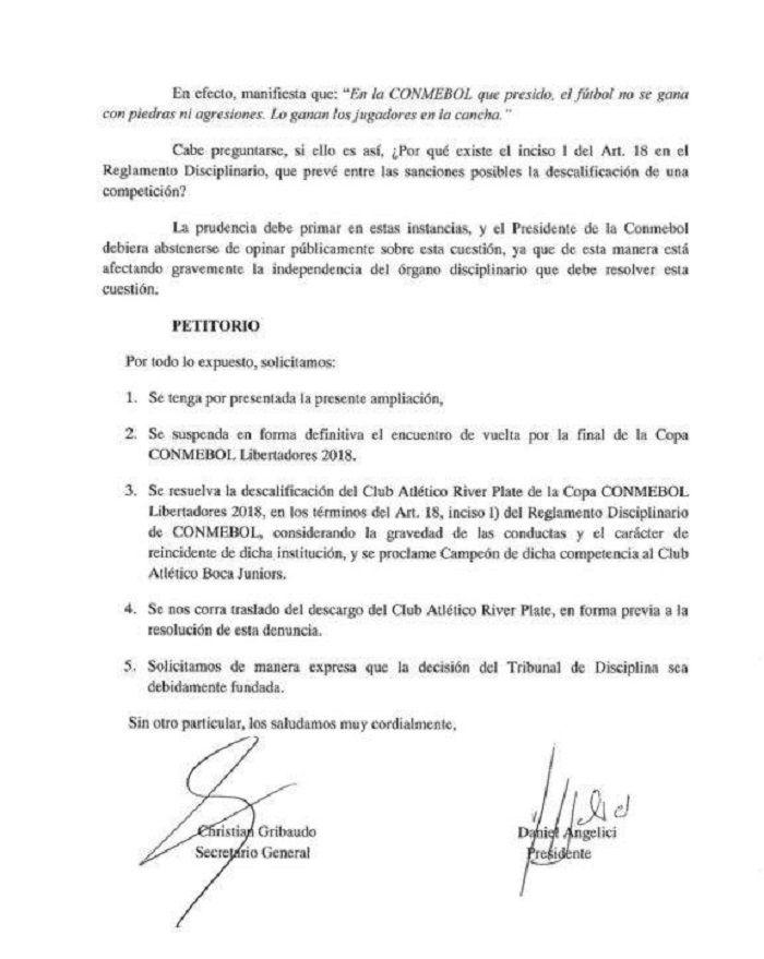 Boca pidió formalmente suspender la final ante River y salir campeón sin jugar