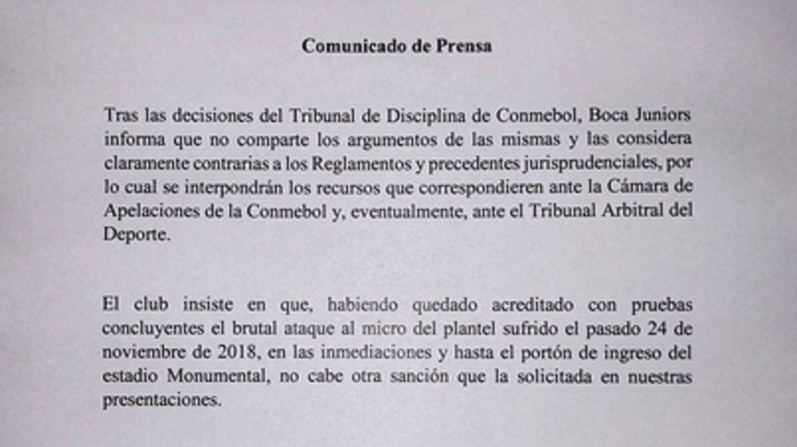 Boca confirmó que apelará el fallo de Conmebol: ¿recurrirá al TAS?