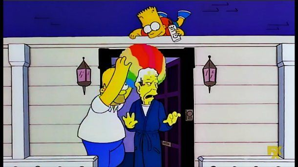 Homero y Bart Simpson con George H.W. Bush<br>