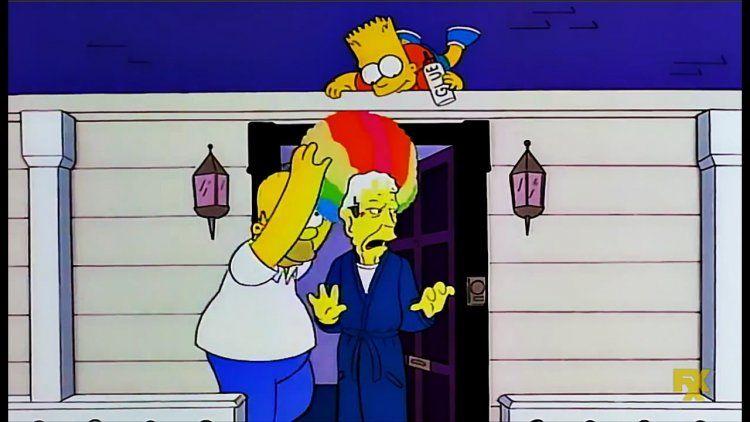 Homero y Bart Simpson con George H.W. Bush
