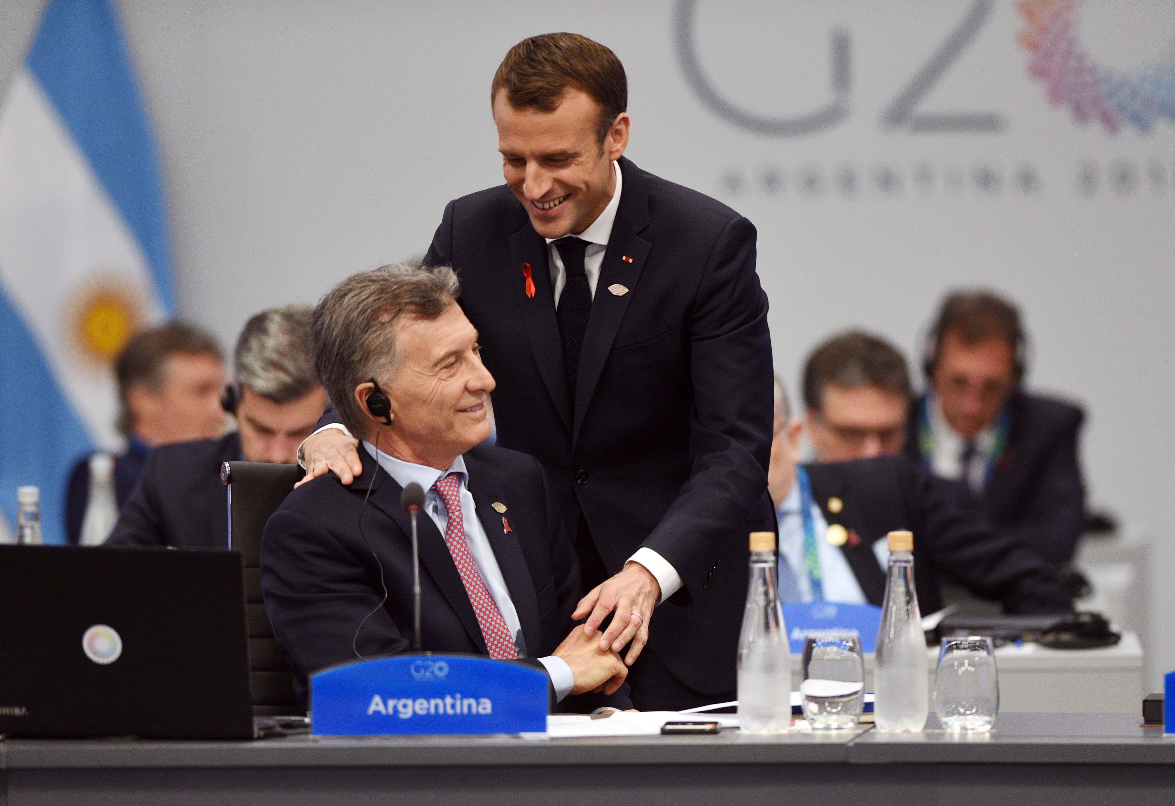 Mauricio Macri con Emmanuel Macron