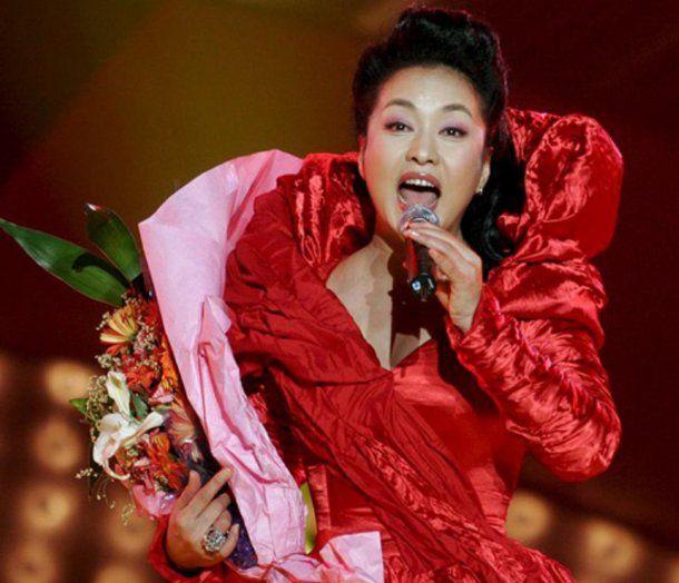 Peng en una de las galas para la televisión China
