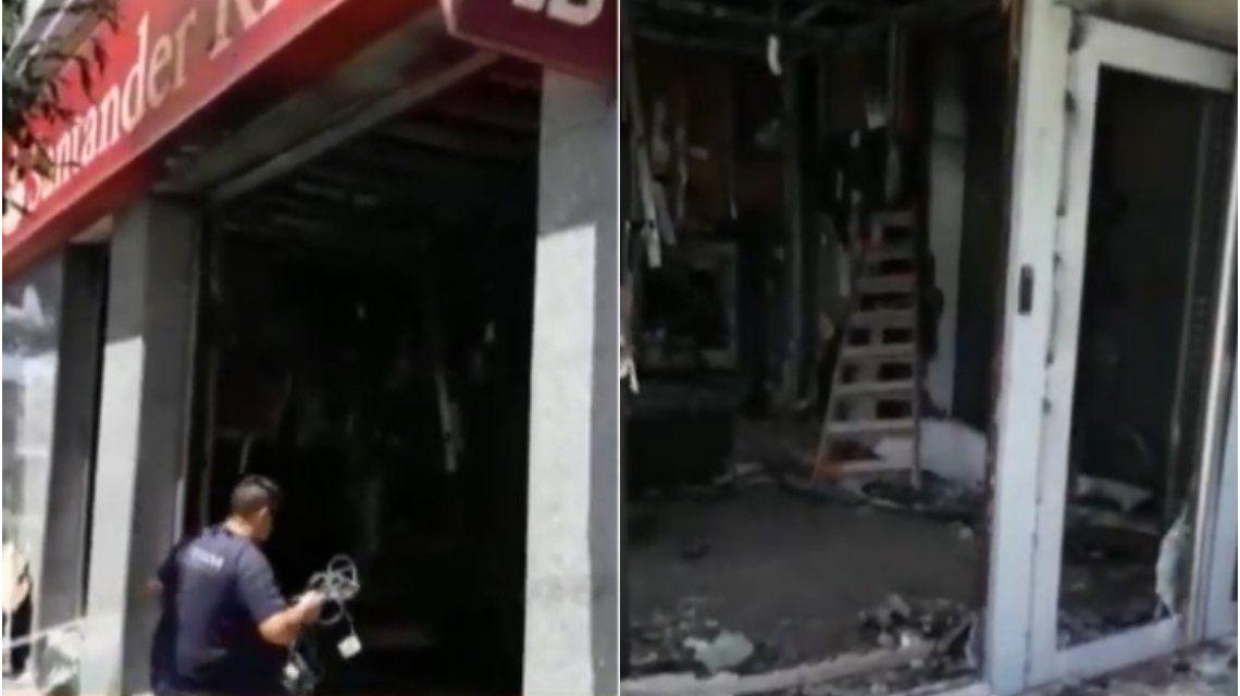 Atentado a un banco en Flores: encapuchados incendiaron una sucursal