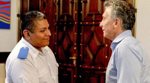 Mauricio Macri y Luis Chocobar<br>