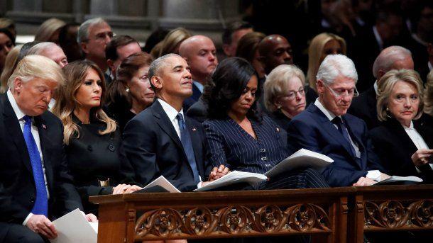 Trump, Obama, Clinton y Carter despidieron a Bush padre