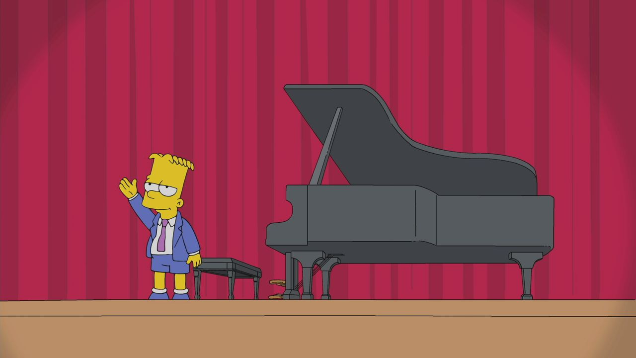 Bart Simpson con un piano