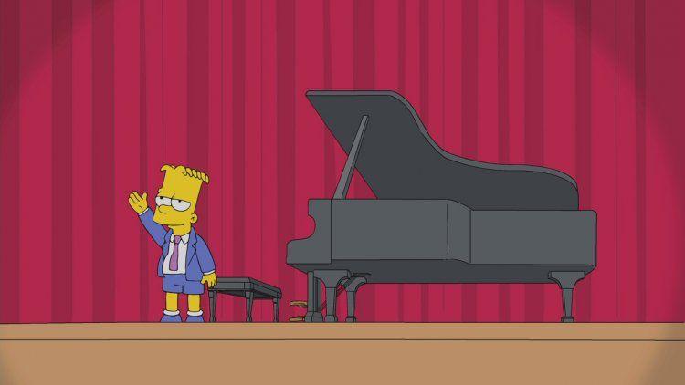 Bart Simpson con un piano