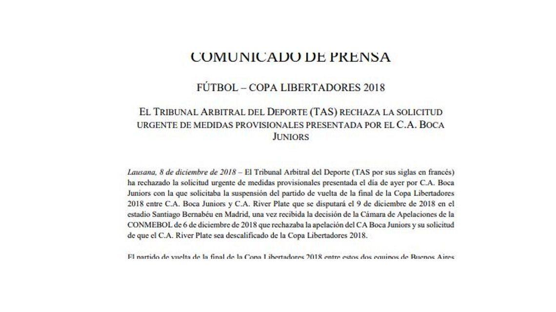 El comunicado del TAS rechazando el pedido de Boca