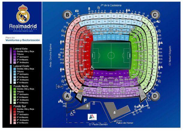 En el sector marcado con violeta del estadio Santiago Bernabéu estará Marcelo Gallardo<br>