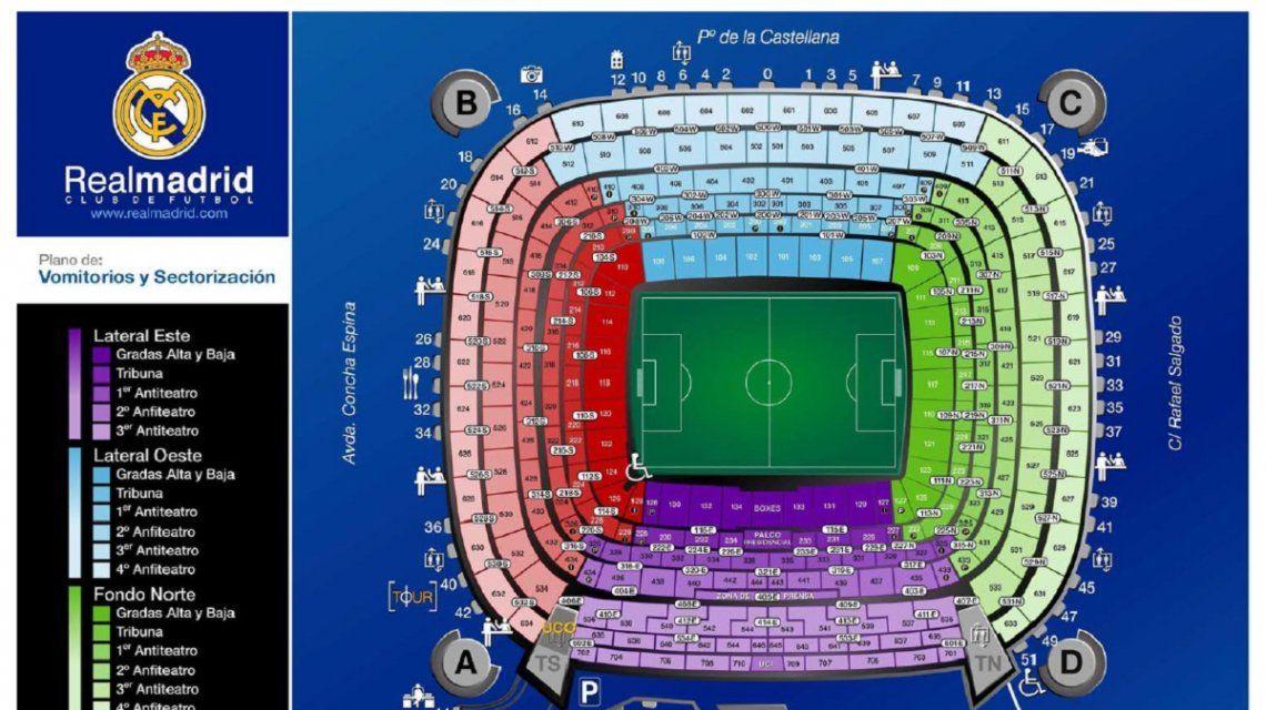 En el sector marcado con violeta del estadio Santiago Bernabéu estará Marcelo Gallardo