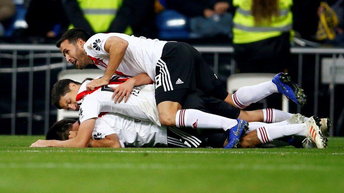 River festeja el gol con el que cerró el partido