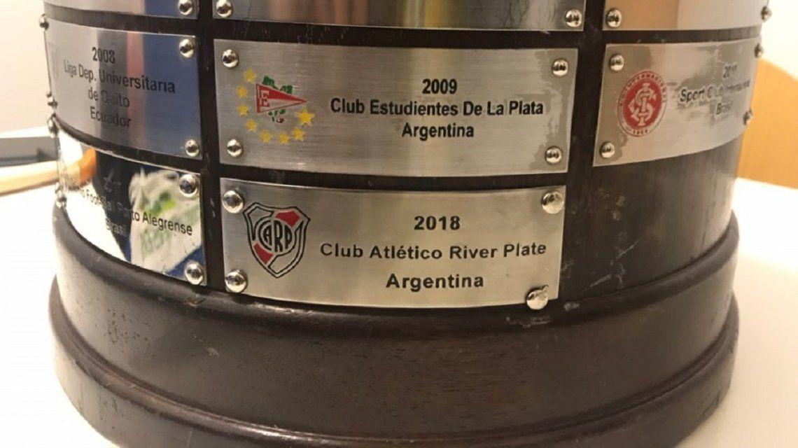 La placa con River campeón de la Copa Libertadores 2018