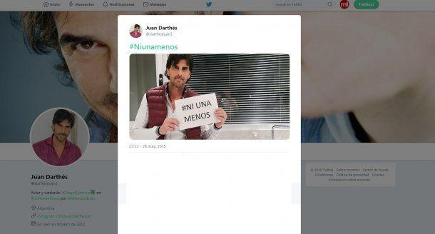El tuit de Juan Darthés y  #NiUnaMenos