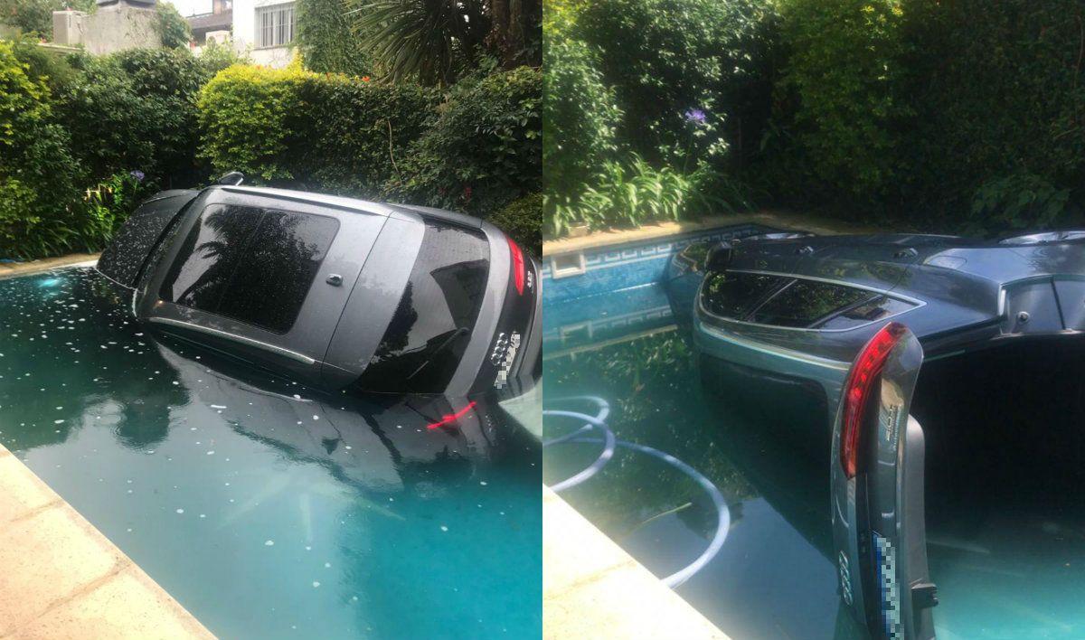La grúa deberá sacar el auto del agua