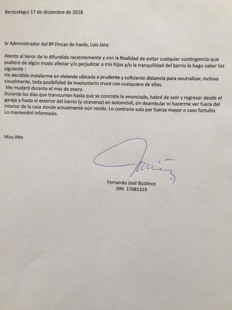 Carta del médico a la administración del barrio privado
