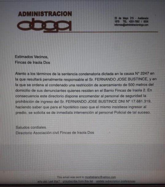 Comunicado de la administración del barrio Iraola Dos