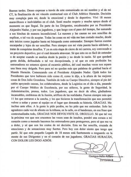 El comunicado de Gustavo Alfaro<br>