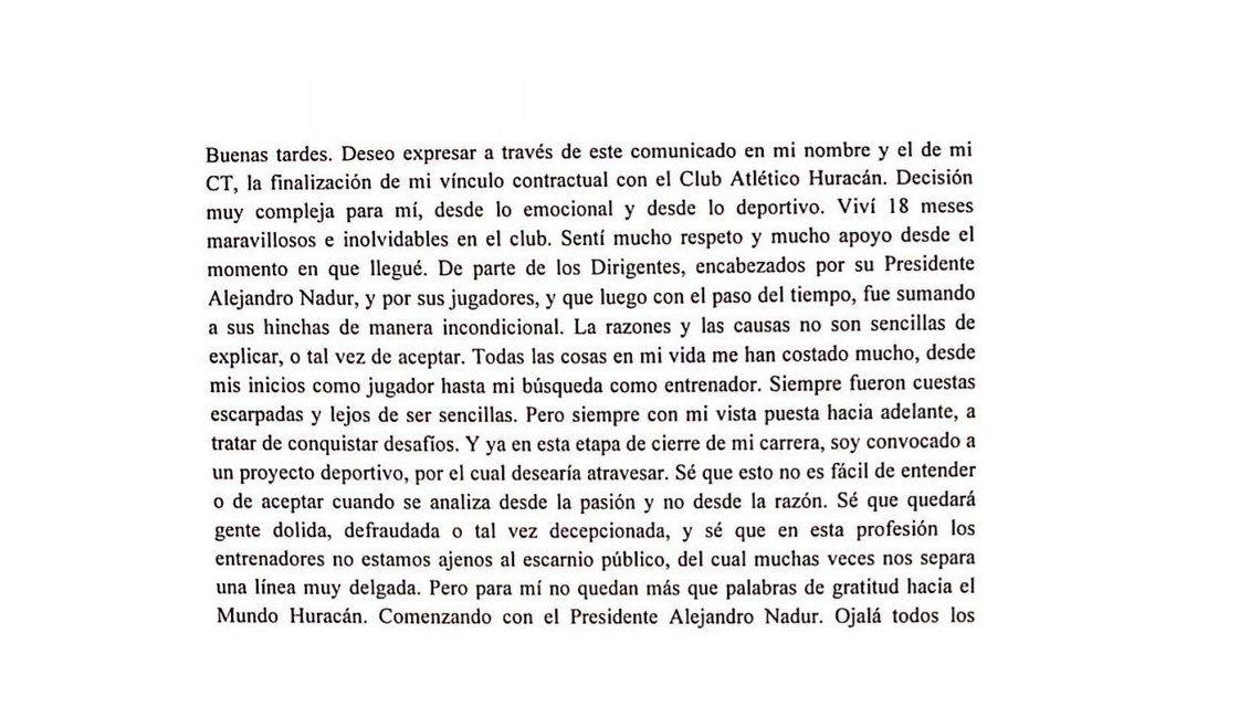 El comunicado de Gustavo Alfaro