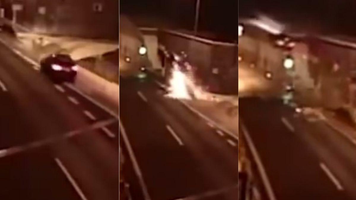 VIDEO: El auto salió volando, golpeó contra un túnel  y se salvó de milagro