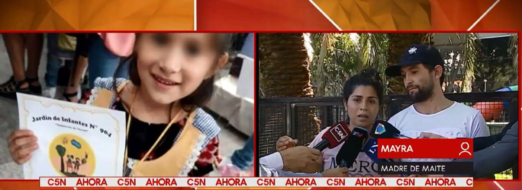 Maite, la nena baleada, tiene muerte encefálica: Lamentablemente mi hija falleció
