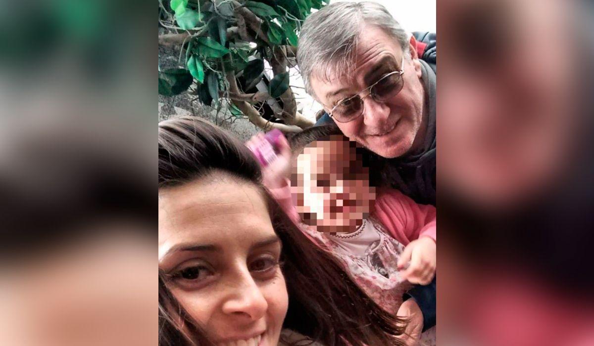 Luciana Romano con su hija y su papá Aníbal