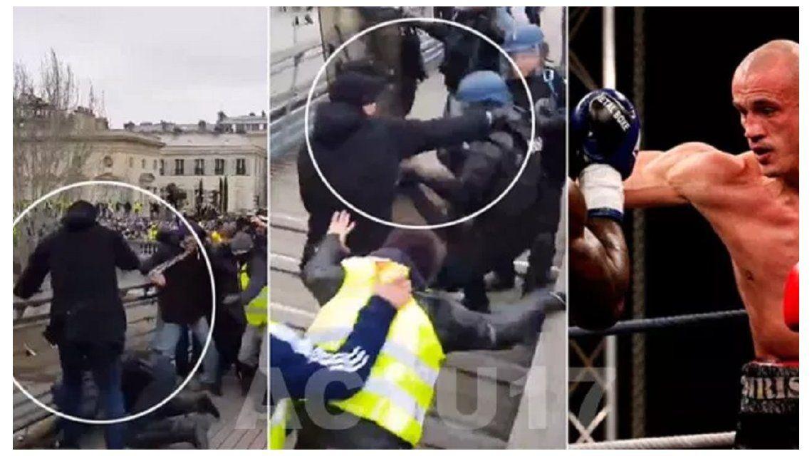 Francia: un boxeador se enfrentó a la policía para defender a los chalecos amarillos