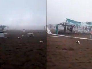 de pelicula: sillas voladoras y carpas destrozadas por una impresionante tormenta en pinamar