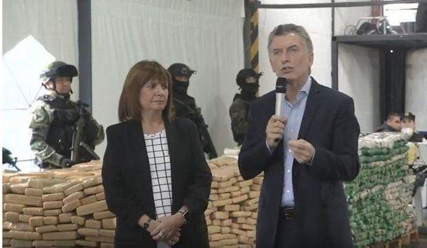 Mauricio Macri junto a la ministra de Seguridad, Patricia Bullrich.