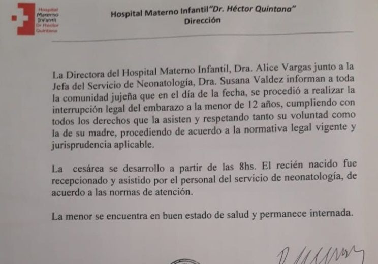 El comunicado oficial de la clínica donde le realizaron la cesárea a la nena violada en Jujuy