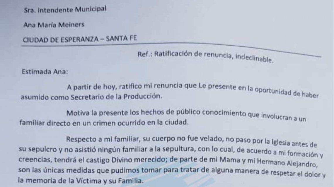 Renunció a su cargo público el hermano del femicida de Agustina Imvinkelried en Esperanza