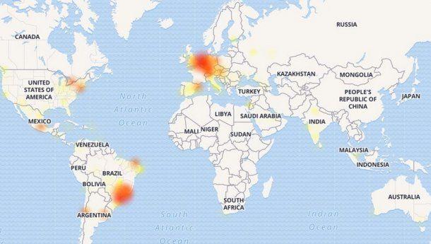 Argentina, Brasil, México, EE.UU. y varios países europeos son los países más afectados por la caída de WhatsApp, según Downdetector.