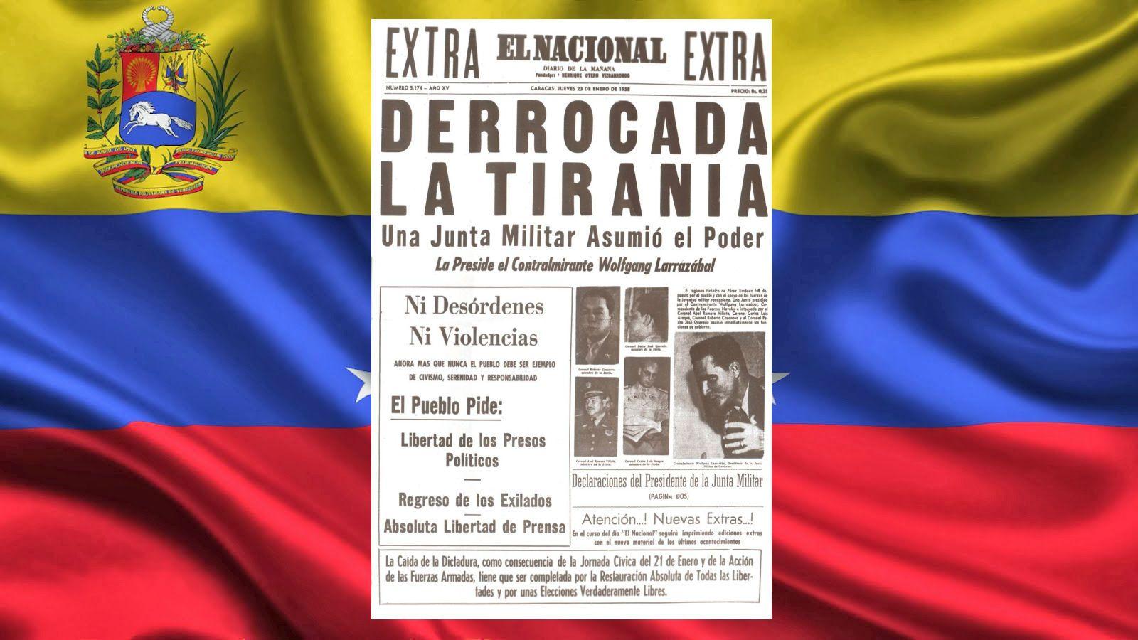 La tapa del diario El Nacional de Venezuela reflejaba el 23 de enero de 1958