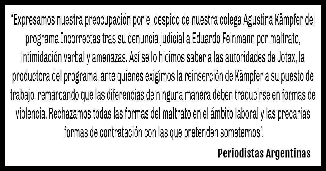 El colectivo de Periodistas Argentinas respaldó a Agustina Kämpfer tras ser echada en Incorrectas