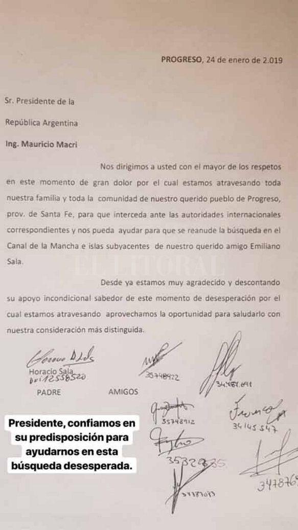 La familia de Emiliano Sala le pidió a Macri que interceda para que retomen la búsqueda