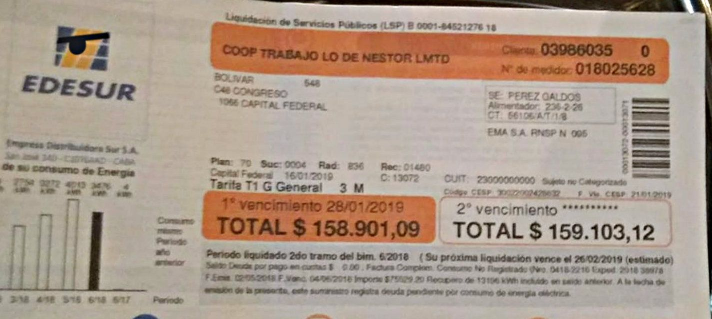 Son un bar cooperativa y les llegó una factura de luz de 160 mil pesos