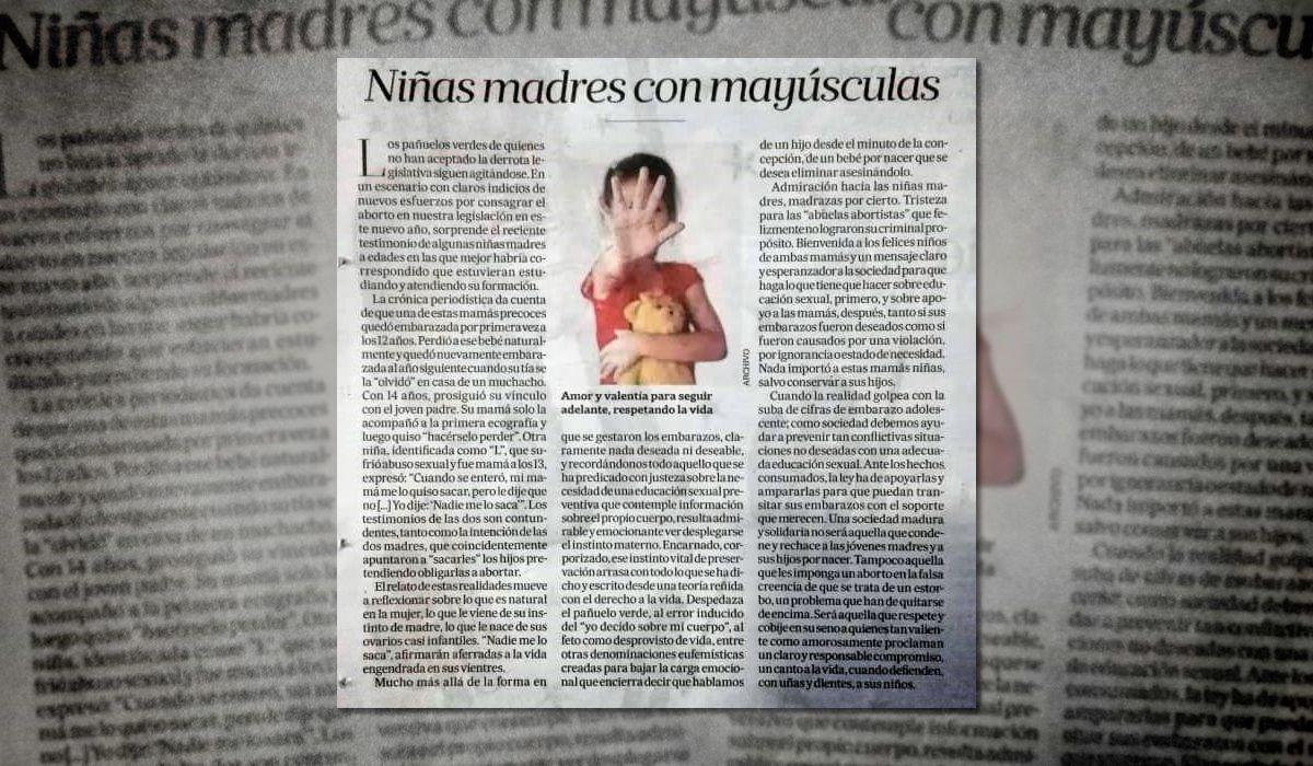La Nación publicó un editorial sobre embarazos adolescentes