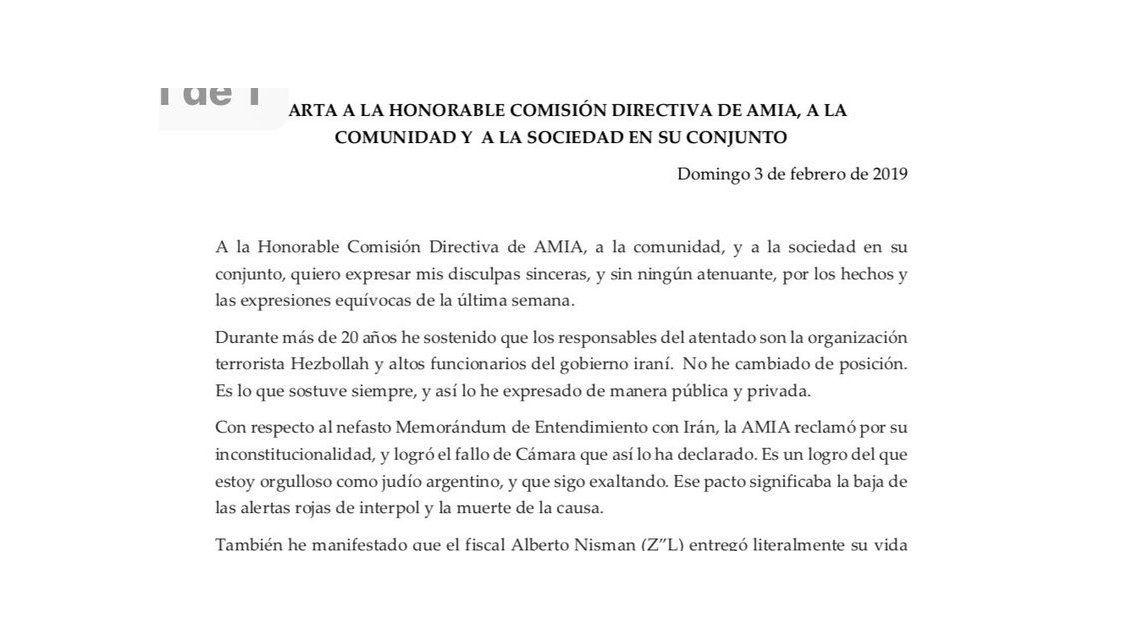 Zbar pidió licencia en la AMIA tras solicitar el cese de la causa contra Cristina por el Memorándum