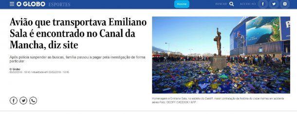 Hallazgo de la avioneta de Sala en O Globo