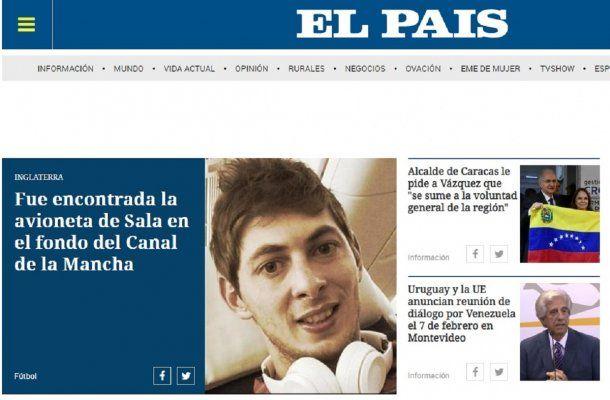 Hallazgo de la avioneta de Sala en El País de España