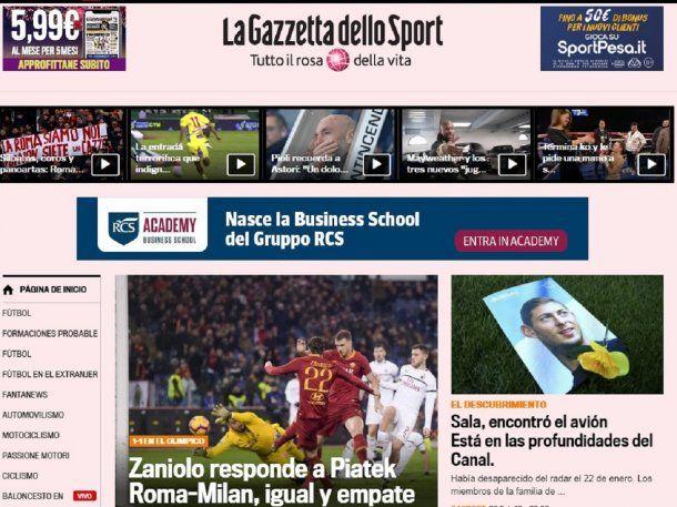 Hallazgo de la avioneta de Sala en La Gazzetta dello Spot