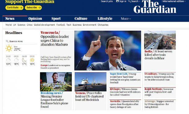 Hallazgo de la avioneta de Sala en The Guardian de Gran Bretaña