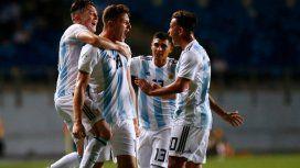 Gaich festeja uno de sus tres goles ante Venezuela (Foto: @Argentina)