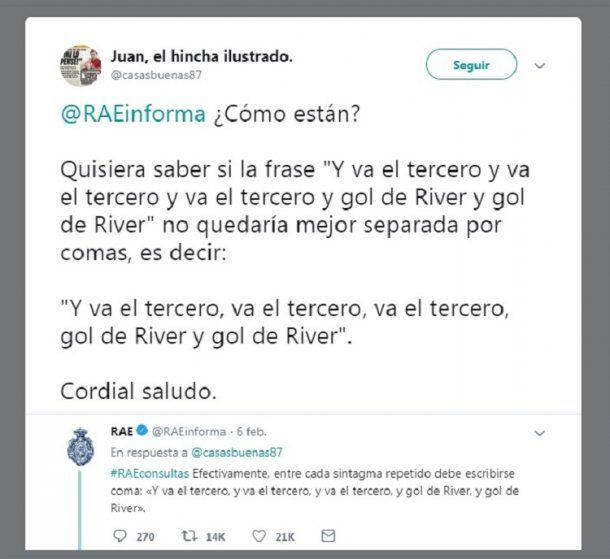 """Y va el tercero"", la chicana de la RAE a River<br>"